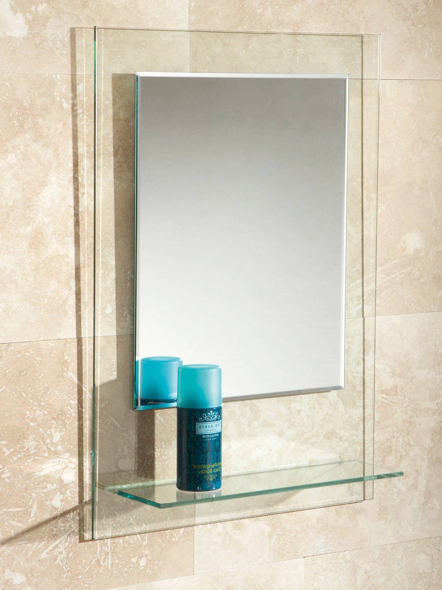 Fuzion Bevelled Edge Mirror On Clear Glass With Glass Shelf with regard to Bevelled Edge Mirrors (Image 5 of 15)