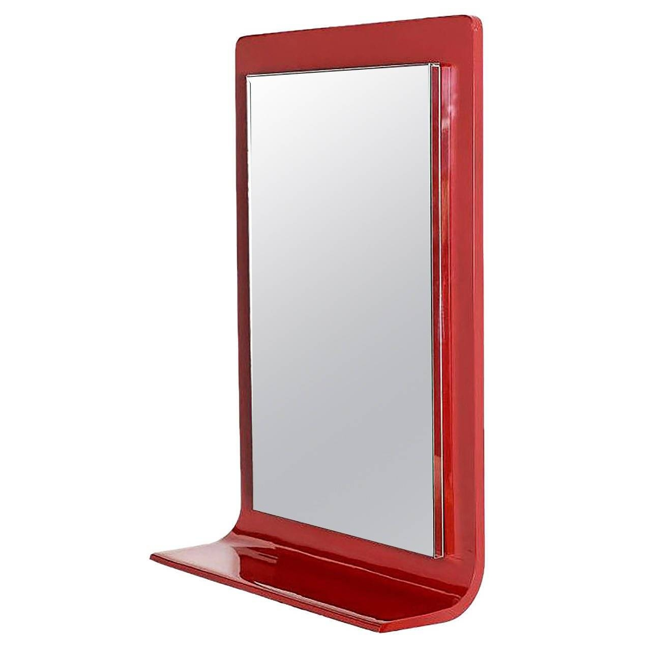 Gampel Stoll Red Lacquered Wall Mirror With Integral Console For Pertaining To Red Wall Mirrors (View 3 of 15)