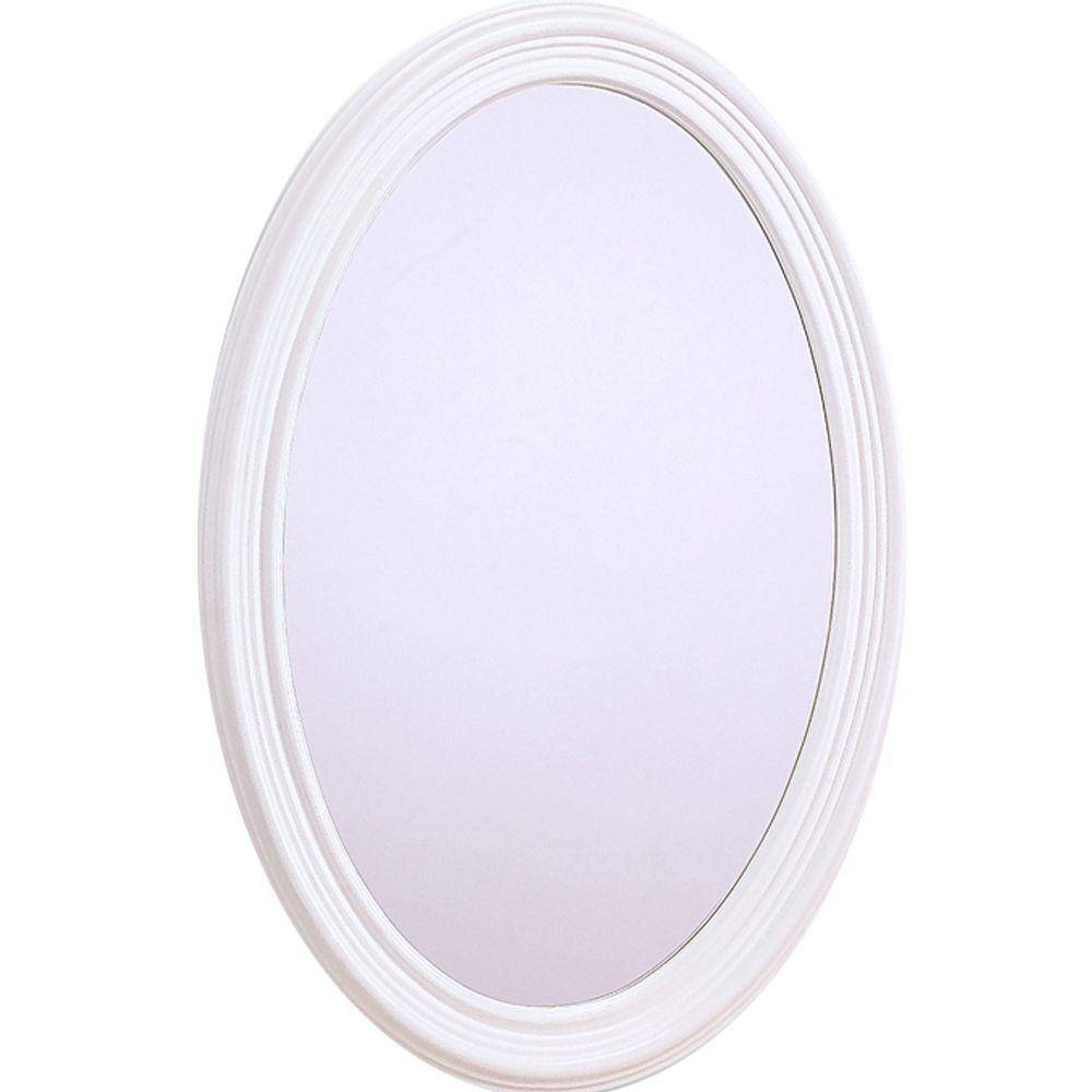 Glacier Bay Napoli 31 In. X 21 In. Oval Mirror In White-209307 throughout Oval White Mirrors (Image 1 of 15)