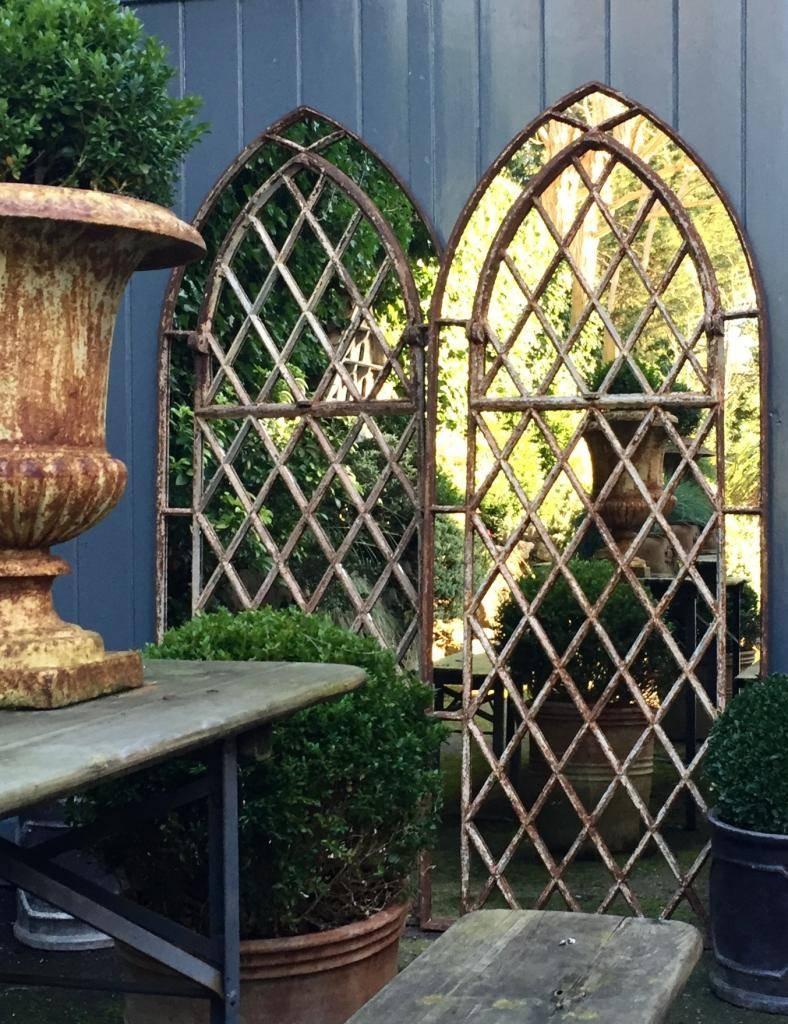 Gothic Garden Arched Diamond Design Window Mirrors Arched-Gothic inside Gothic Garden Mirrors (Image 9 of 15)