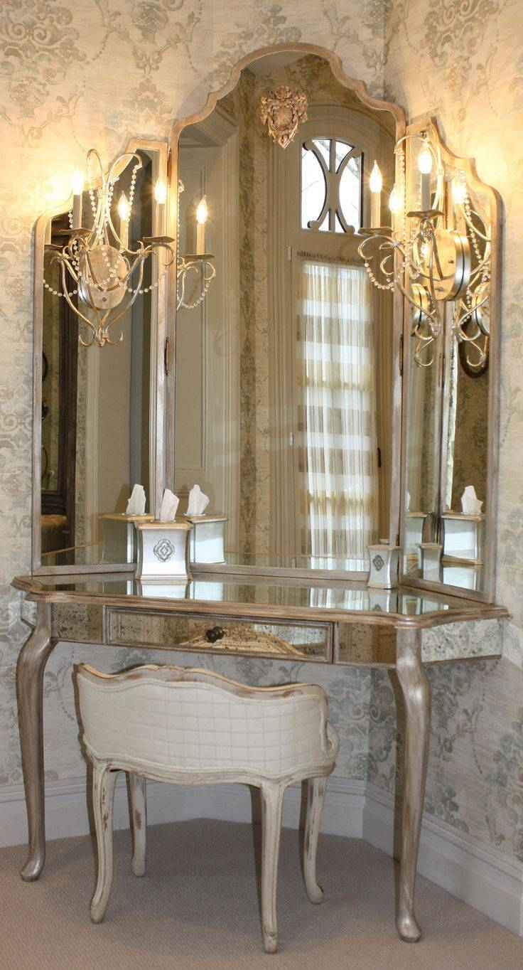 Guilded #french Dressing Table With Three Way Mirror. Can You Say with regard to Long Dressing Mirrors (Image 9 of 15)