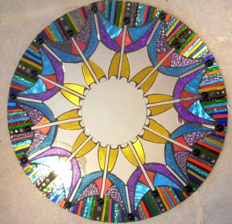 Hand Made Mosaic Mirror Colorful Stained Glass Roundsol Sister Regarding Round Mosaic Mirrors (View 11 of 15)