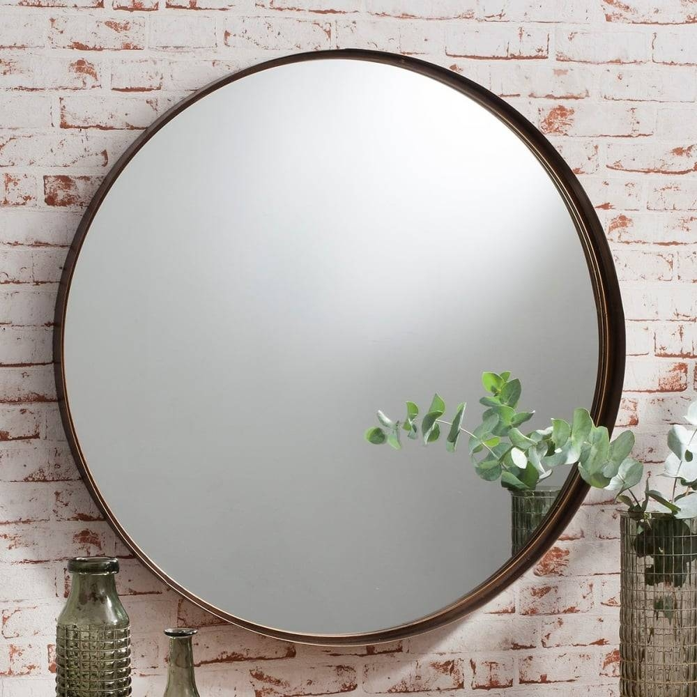 Harper Large Round Metal Wall Mirror Bronze | Cult Furniture regarding Large Round Metal Mirrors (Image 6 of 15)