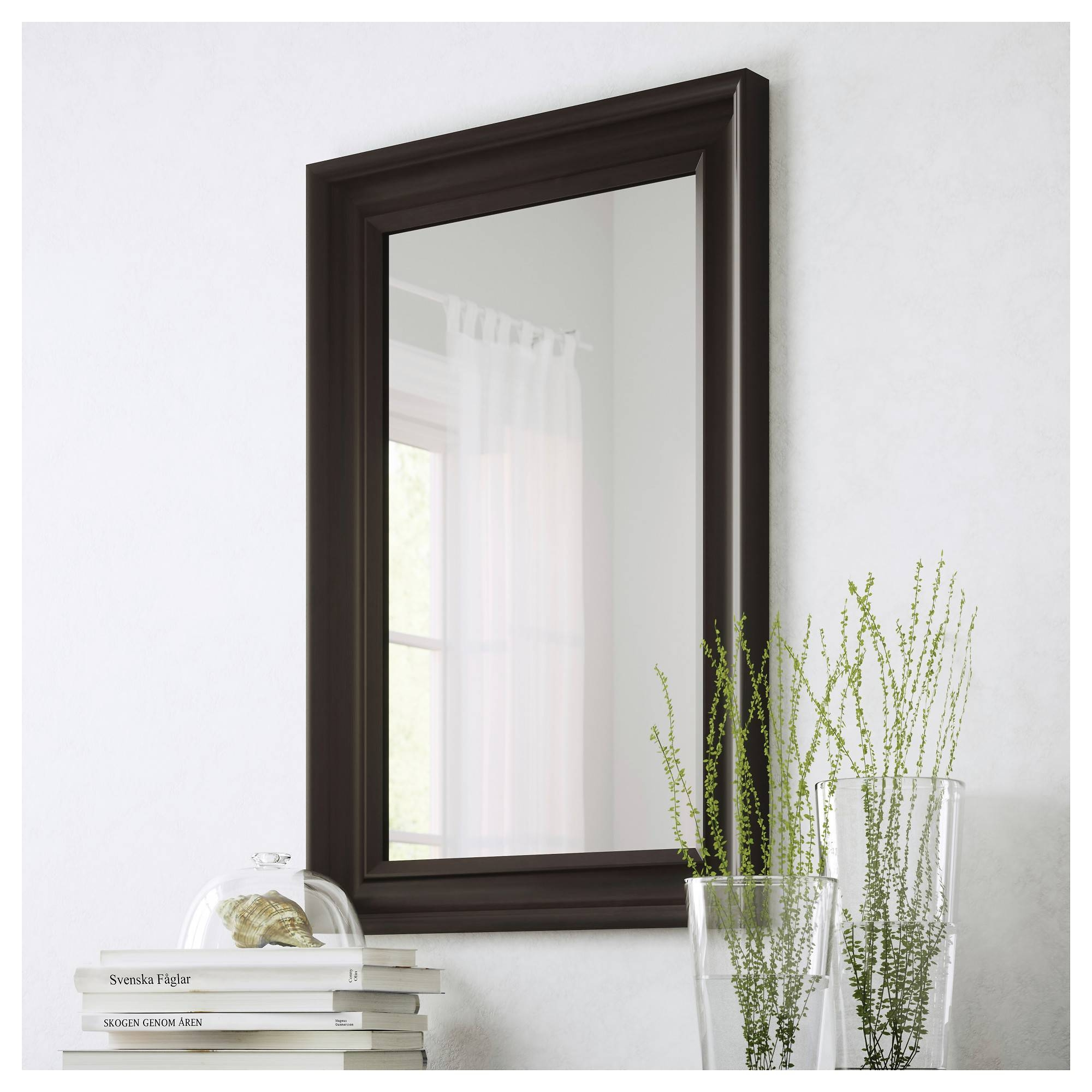 Hemnes Mirror Black-Brown 60X90 Cm - Ikea for Long Black Wall Mirrors (Image 9 of 15)