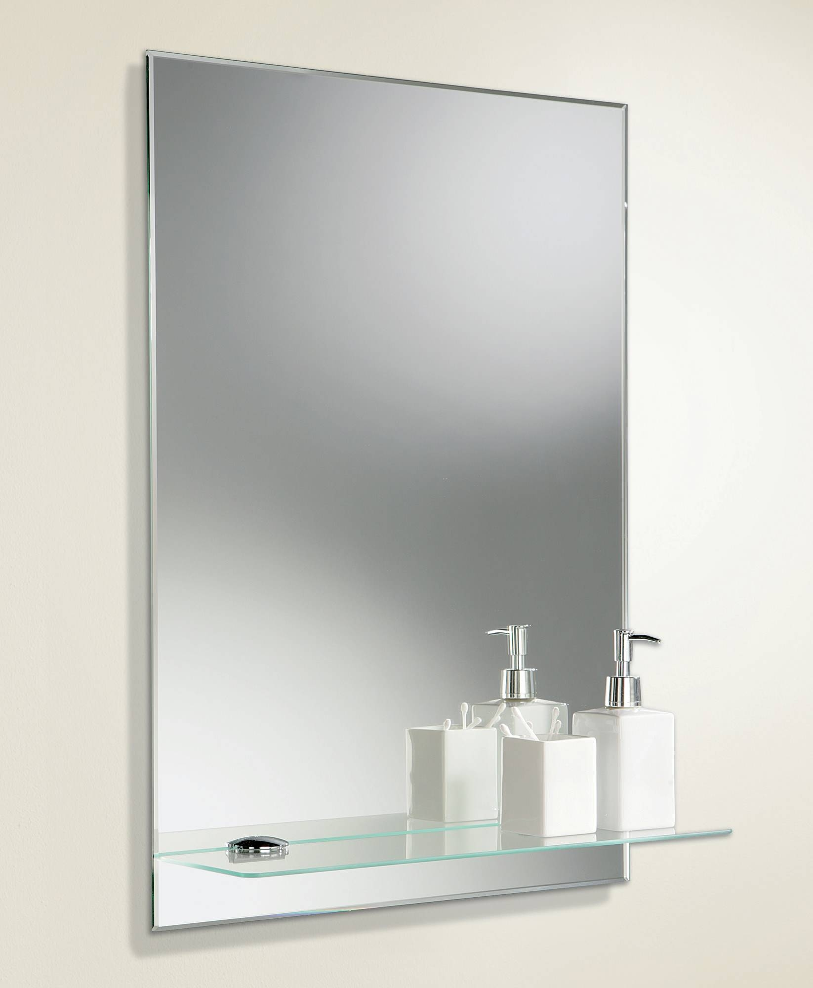 Hib Delby Rectangular Bevelled Edge Mirror With Glass Shelf | 72026000 With Regard To Bevelled Edge Mirrors (View 7 of 15)