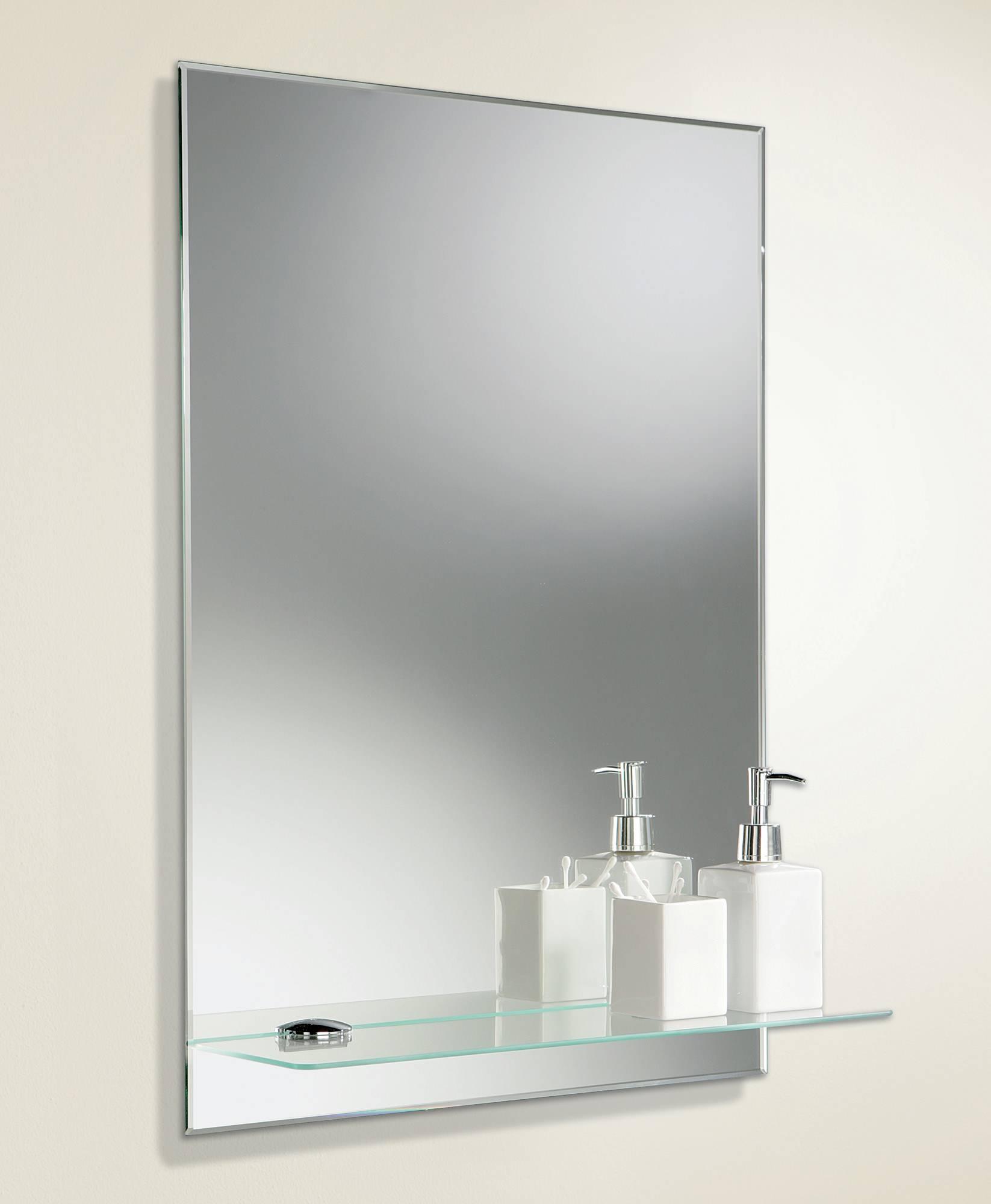 Hib Delby Rectangular Bevelled Edge Mirror With Glass Shelf | 72026000 with regard to Bevelled Edge Mirrors (Image 7 of 15)