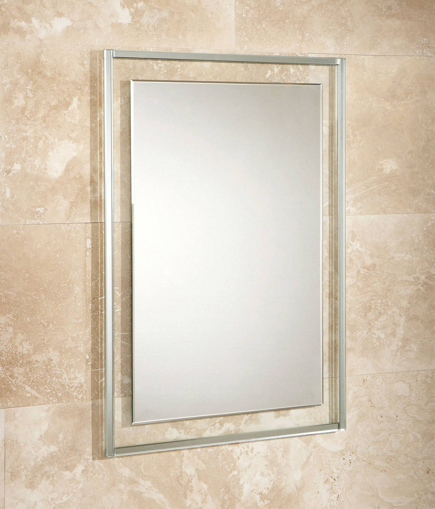 Hib Georgia Bevelled Edge Mirror On Clear Glass Frame 500 X 700Mm Throughout Bevelled Edge Mirrors (View 8 of 15)