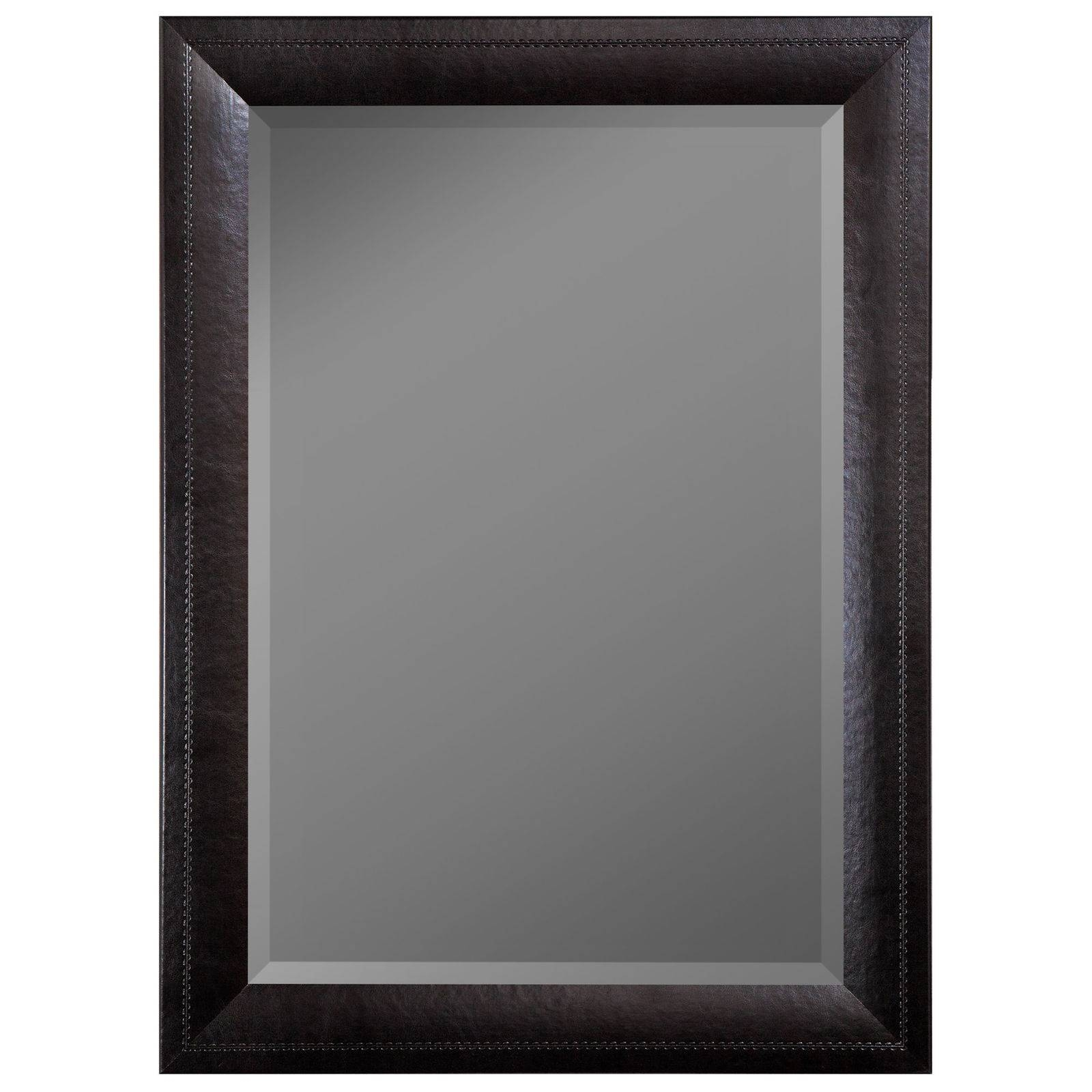 Hitchcock Butterfield Black Saddle-Stitched Leather-Framed Mirror in Black Leather Framed Mirrors (Image 2 of 15)