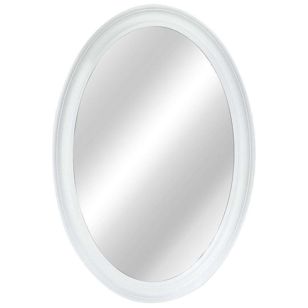 Home Decorators Collection 21 In. W X 31 In. L Framed Fog Free in White Oval Wall Mirrors (Image 4 of 15)