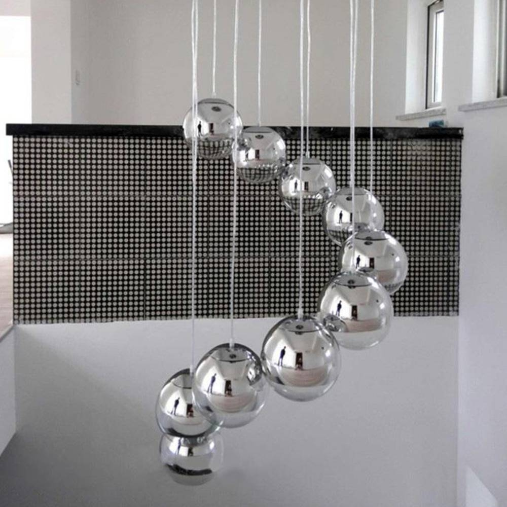 Hot Sale Modern Globe Chrome Finished Mirror Glass Ball Vacuum Led Pertaining To Ceiling Light Mirrors (View 10 of 15)