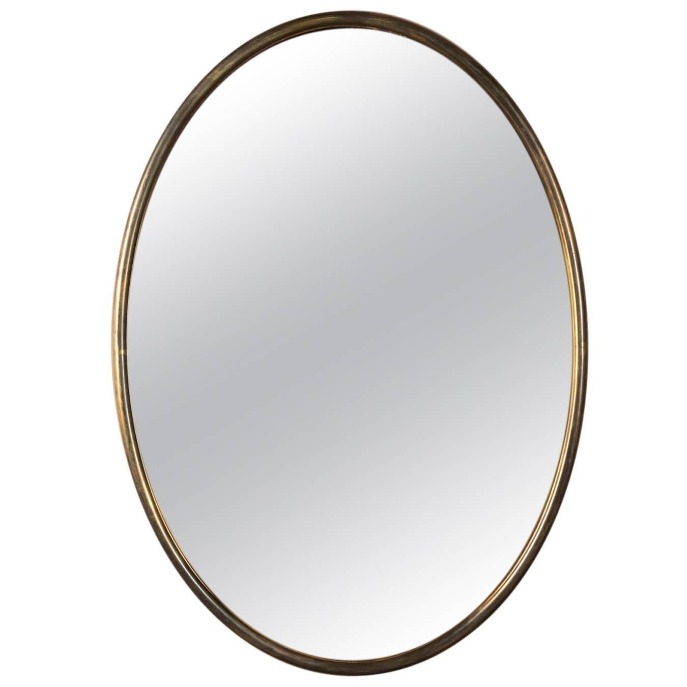 Italian Oval Brass Mirror With Copper Tinted Glass At 1Stdibs with Brass Mirrors (Image 11 of 15)
