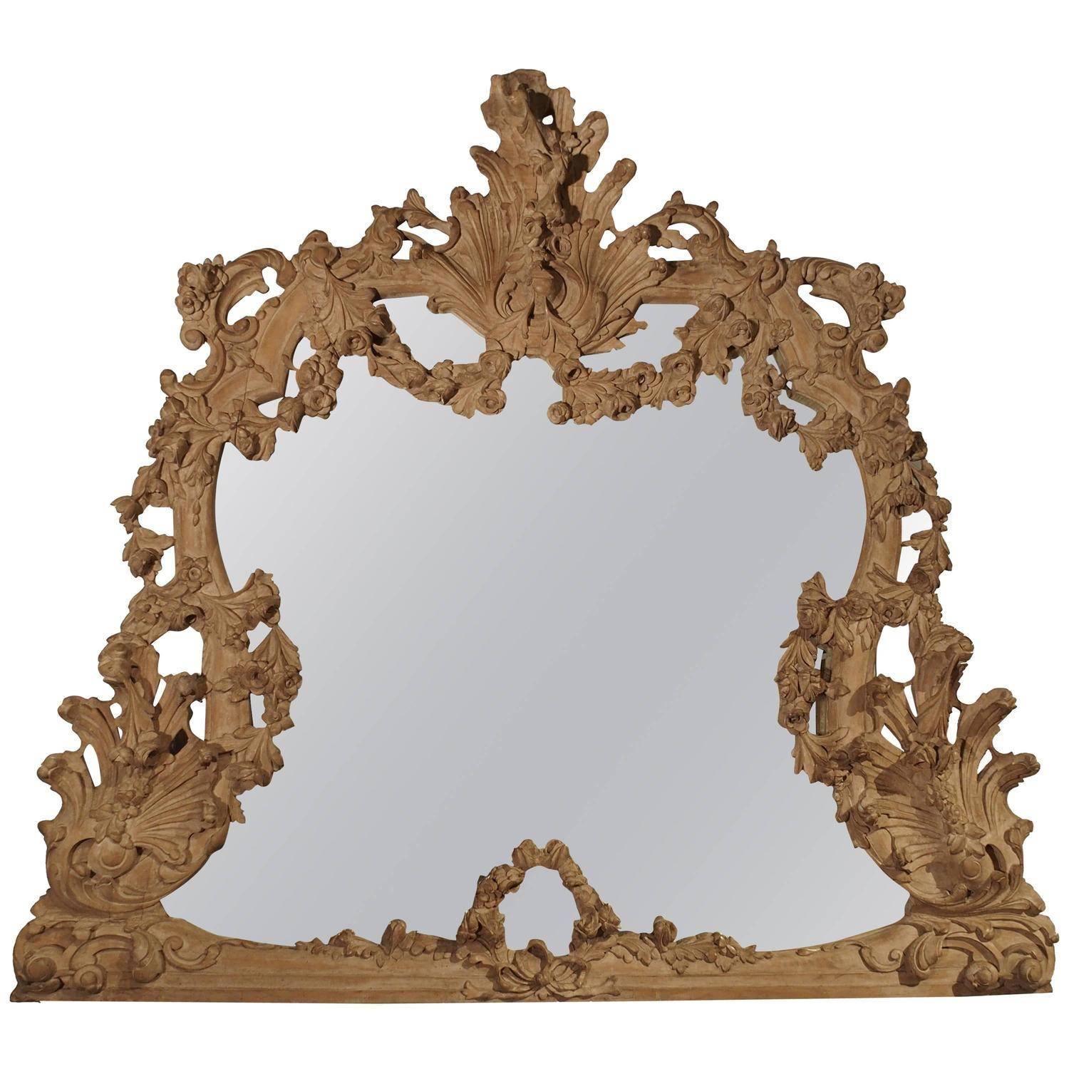 Large Antique Stripped Walnut Wood Rococo Style Mirror For Sale At within Large Rococo Mirrors (Image 3 of 15)