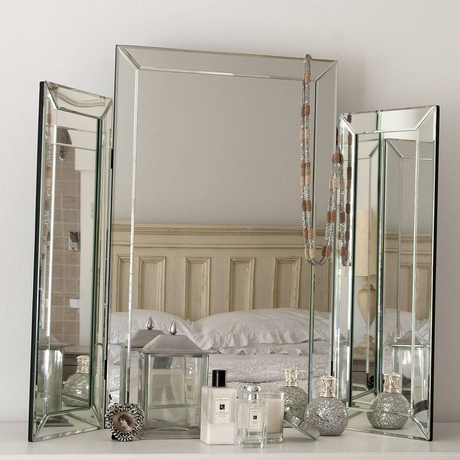Large Bevelled Dressing Table Triple Mirrordecorative Mirrors For Triple Mirrors (View 3 of 15)