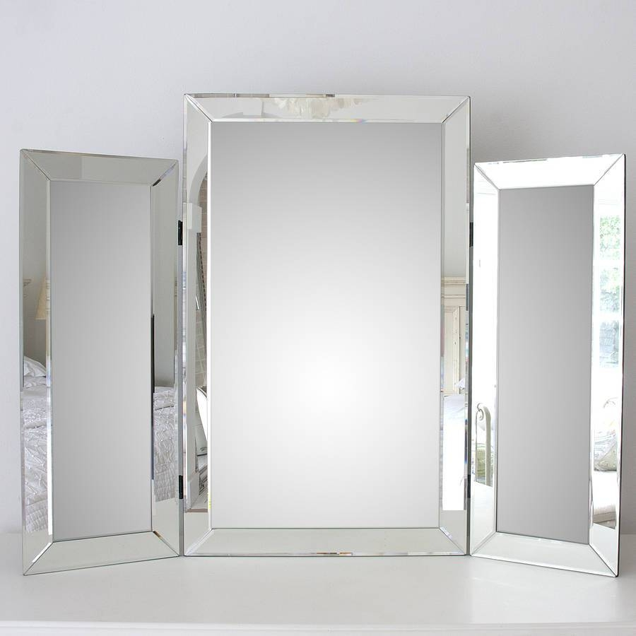 Large Bevelled Dressing Table Triple Mirrordecorative Mirrors Intended For Triple Mirrors (View 5 of 15)