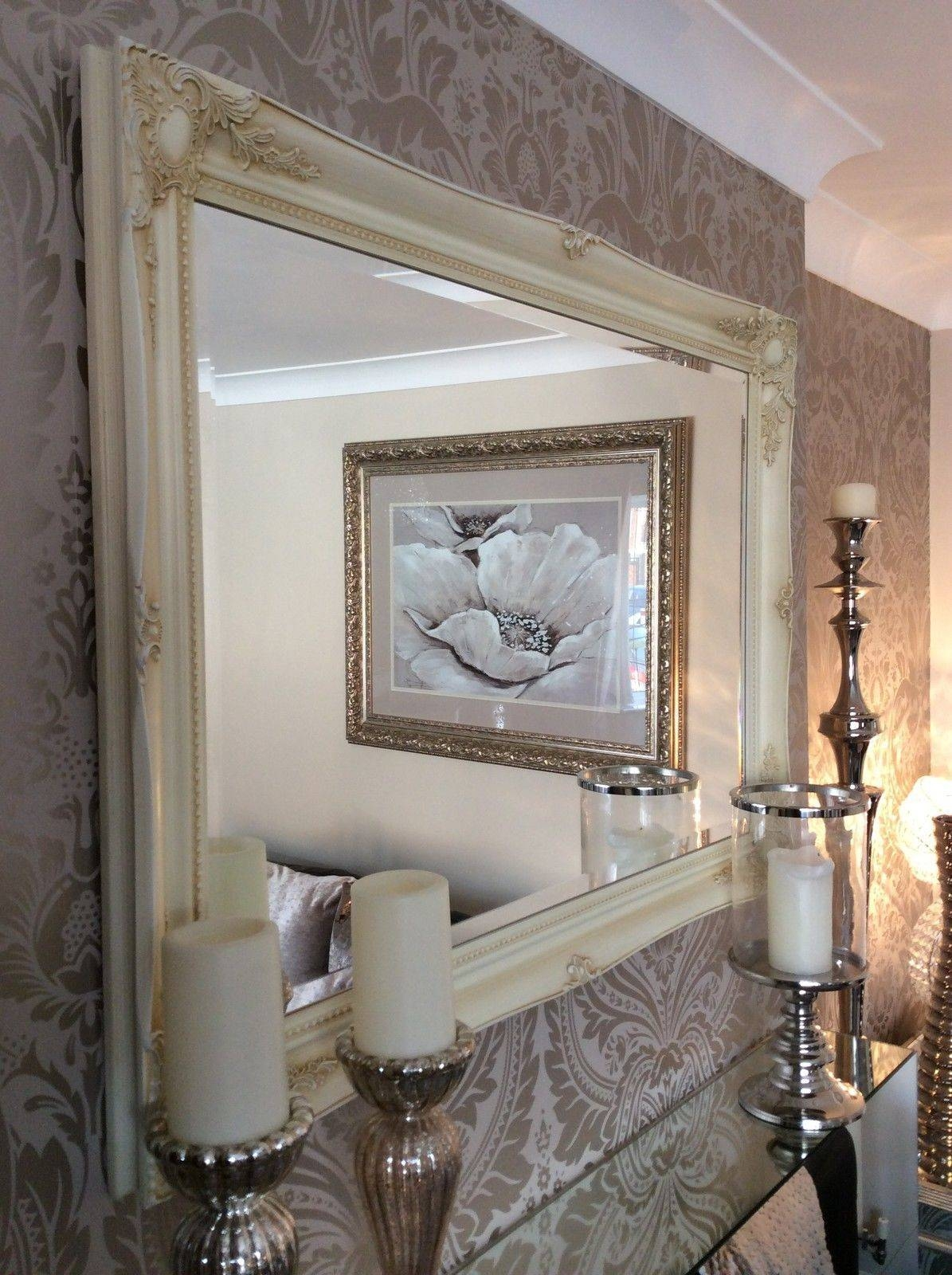 Large Cream Decorative Stunning Shabby Chic Wall Mirror Free P&p pertaining to Huge Ornate Mirrors (Image 8 of 15)
