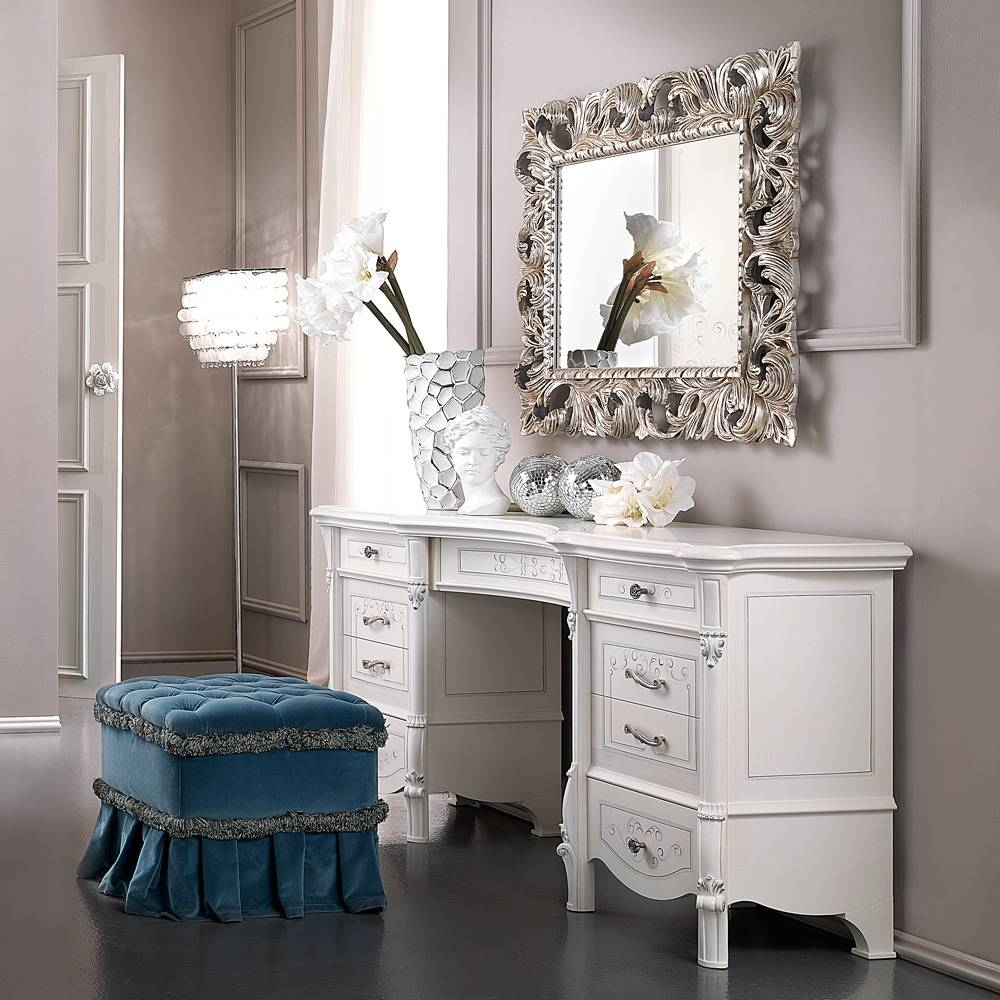 Large Designer Italian Dressing Table | Juliettes Interiors in Large White Rococo Mirrors (Image 3 of 15)