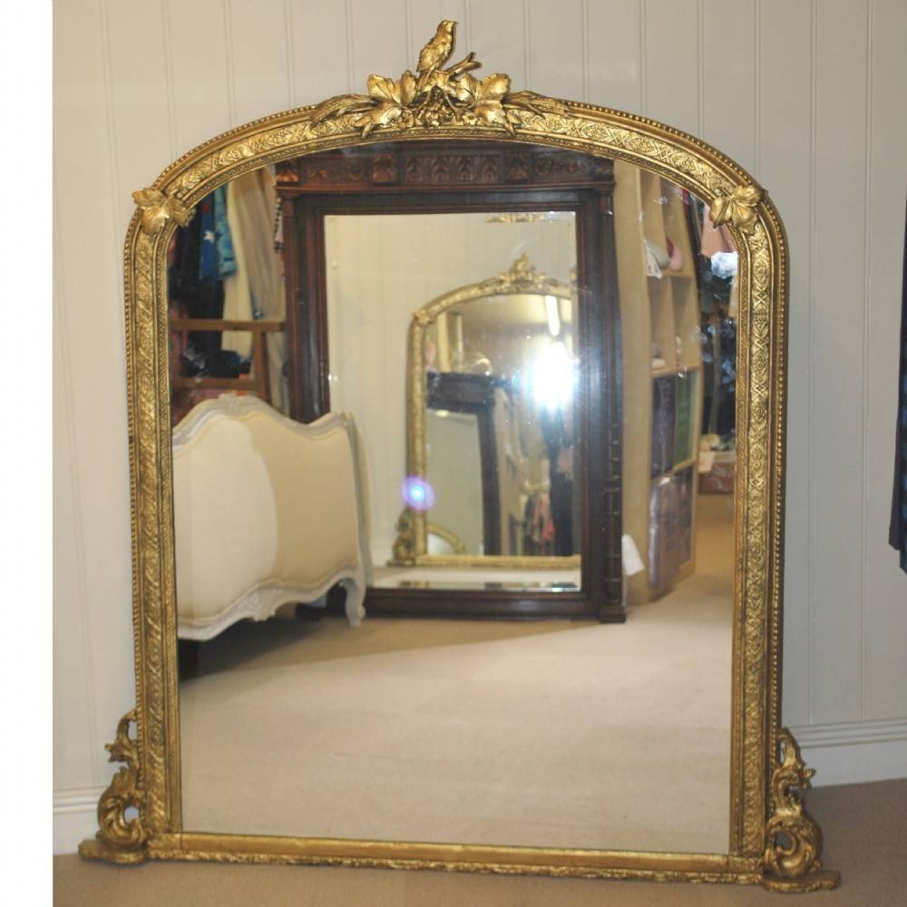 "Large Gilt Overmantle Mirror 57"" X 51"" 