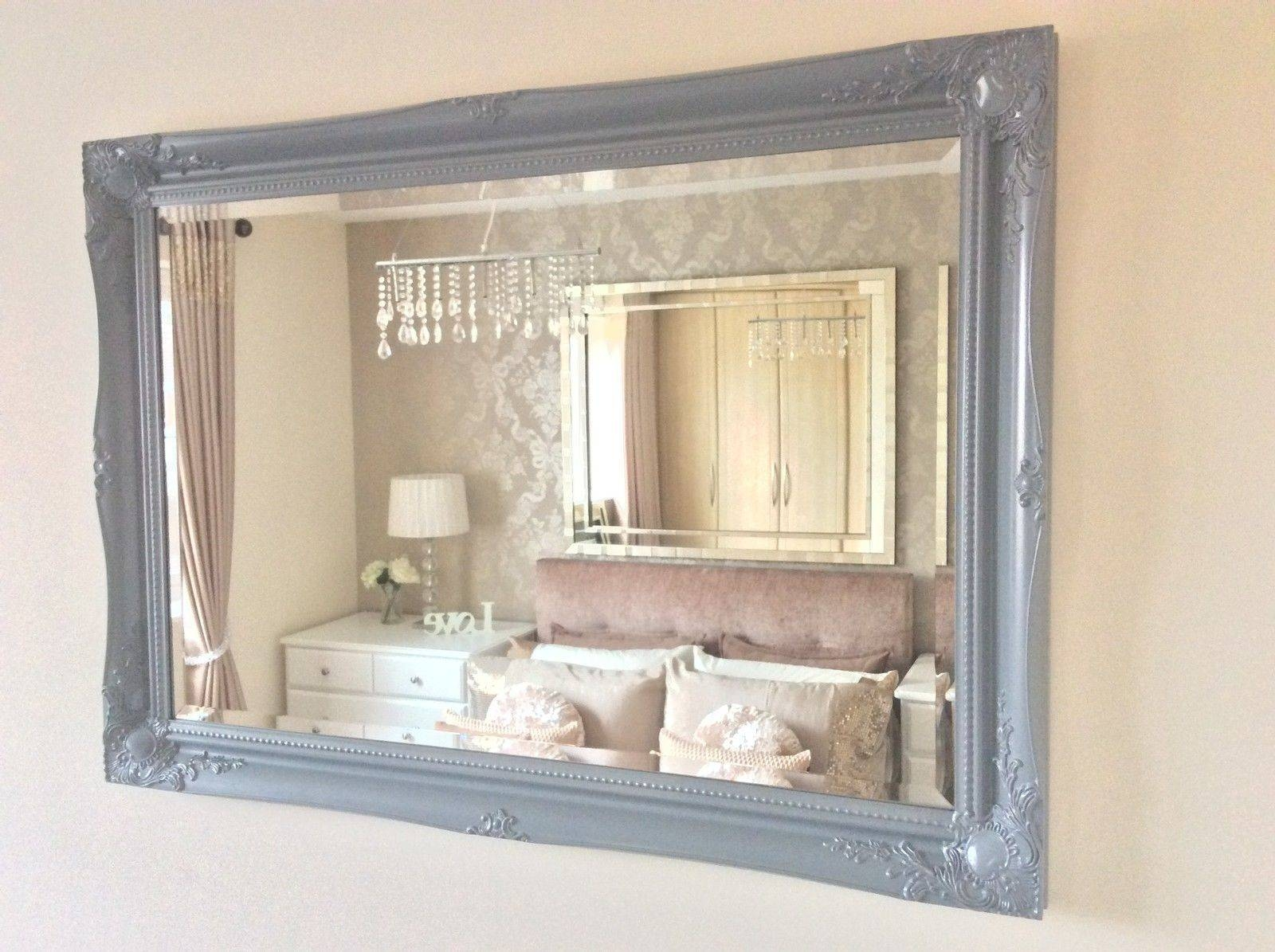 Large Grey Satin Shabby Chic Ornate Decorative Over Mantle Gilt with regard to Shabby Chic Long Mirrors (Image 4 of 15)