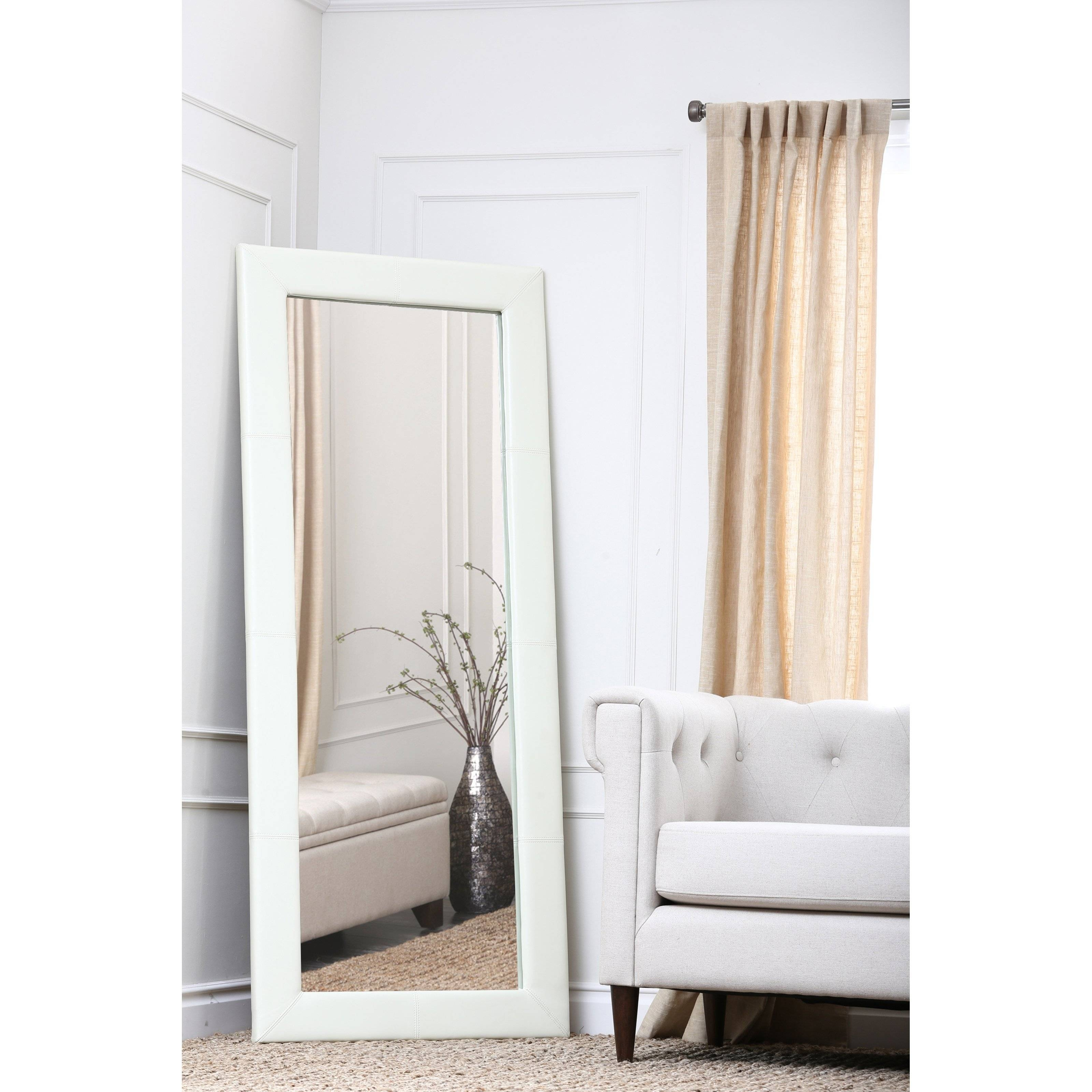 Large Leather Floor Mirror – White – 31W X 70H In (View 12 of 15)