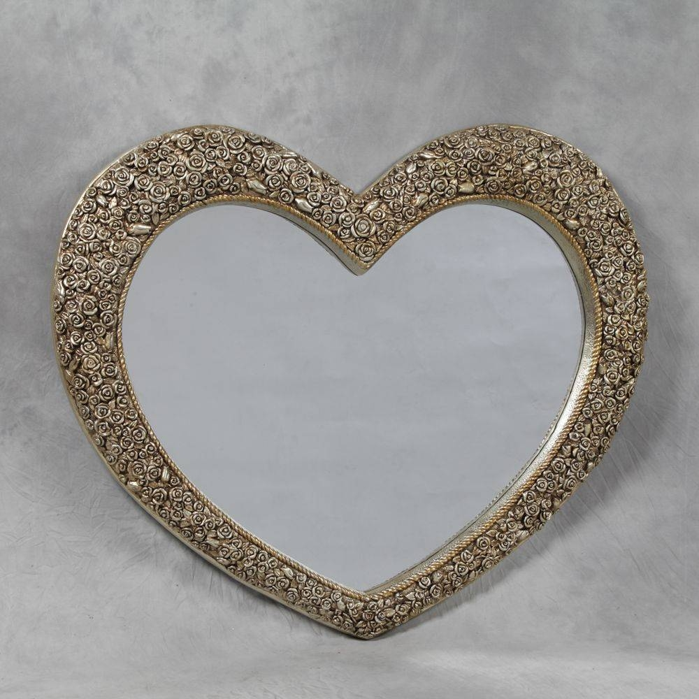 Large Rose Frame Heart Wall Mirror Regarding Large Heart Mirrors (View 7 of 15)