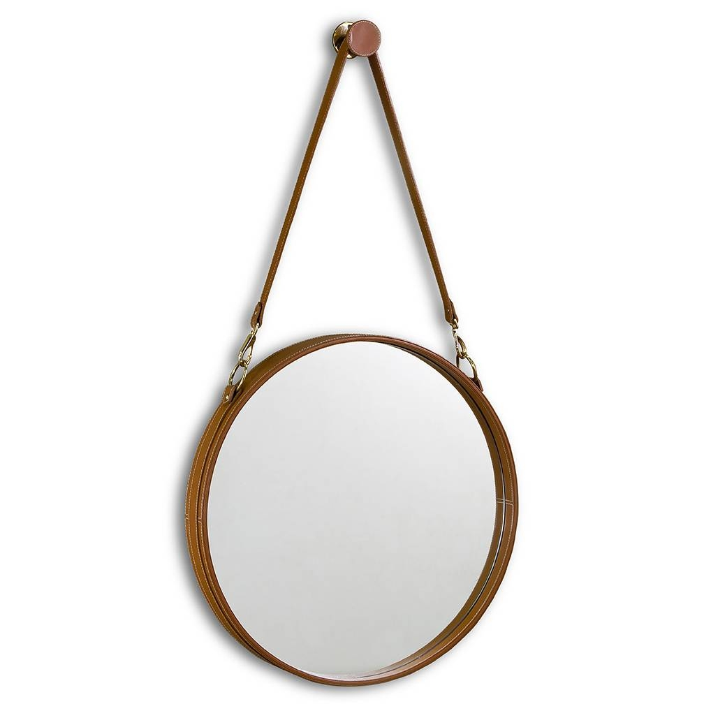 Leather Strap Hanging Mirror – Luxe Home Company With Round Leather Mirrors (View 10 of 15)