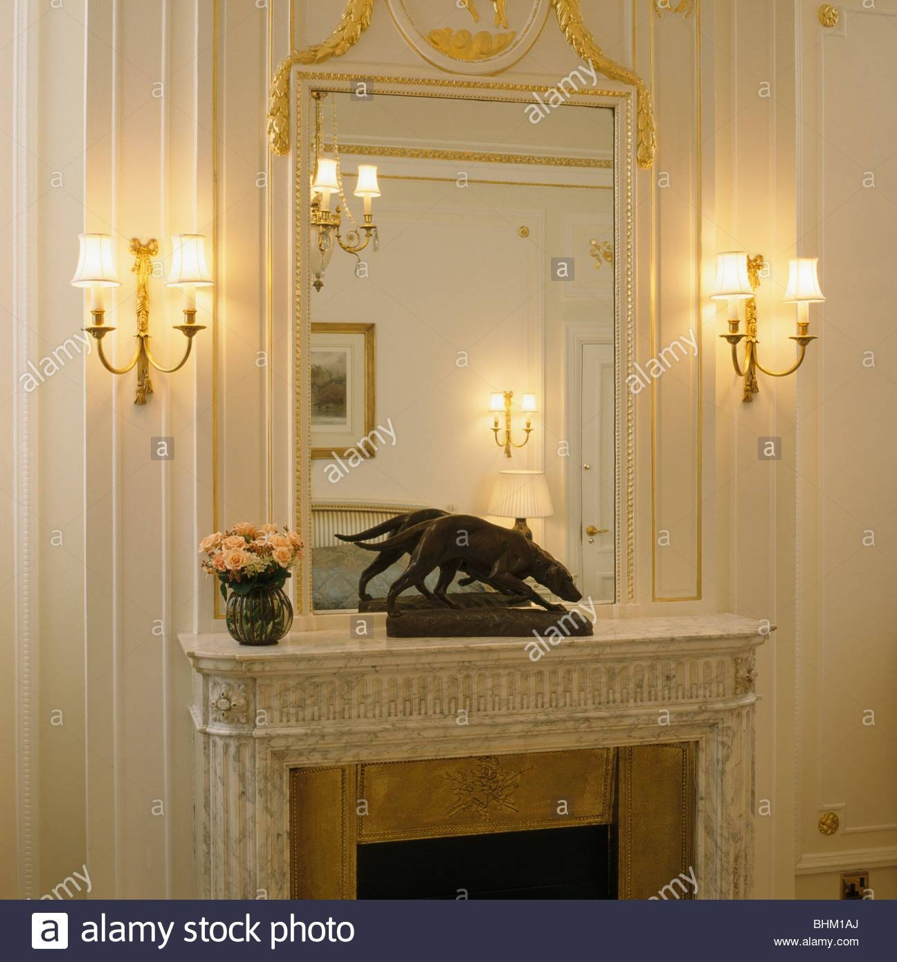 Lighted Wall Lights On Either Side Of Over Mantel Mirror Above For Mantelpiece Mirrors (View 11 of 15)