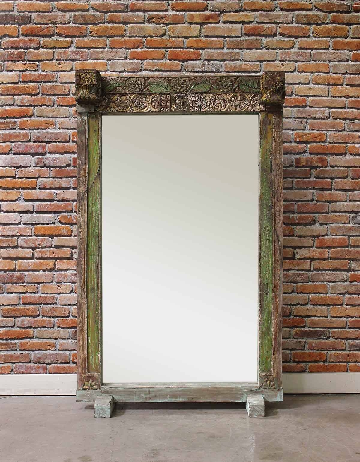 Lime Green Vintage Floor Mirror - Mirrors - Home Furnishings intended for Large Vintage Floor Mirrors (Image 7 of 15)