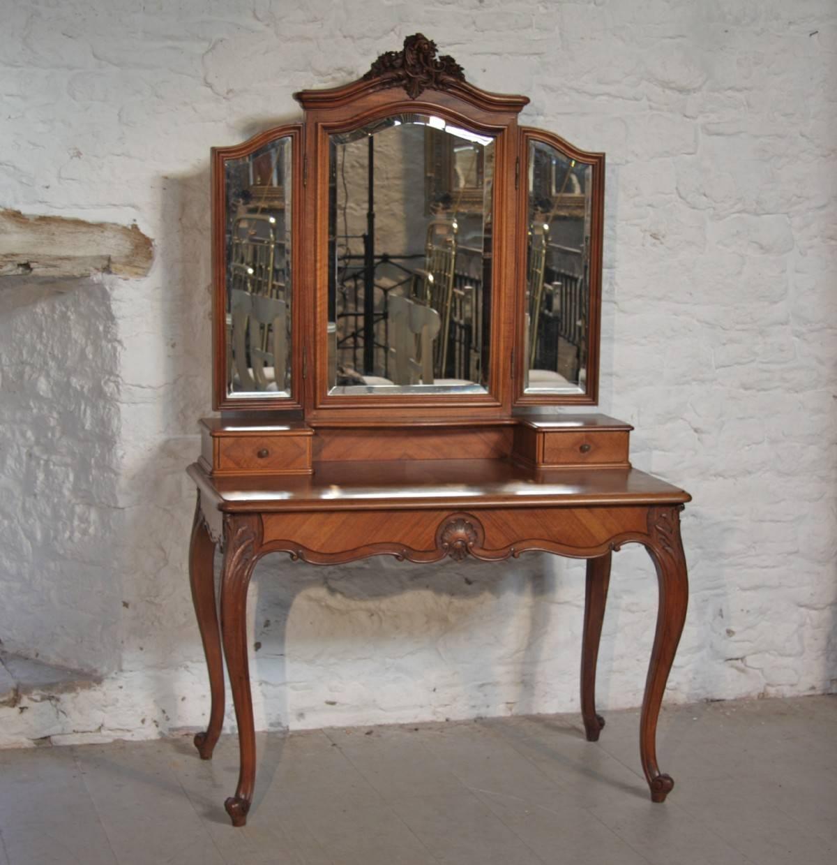 Louis Xv1 Fench Walnut Dressing Table With Triple Mirrors | 202850 inside Antique Triple Mirrors (Image 9 of 15)