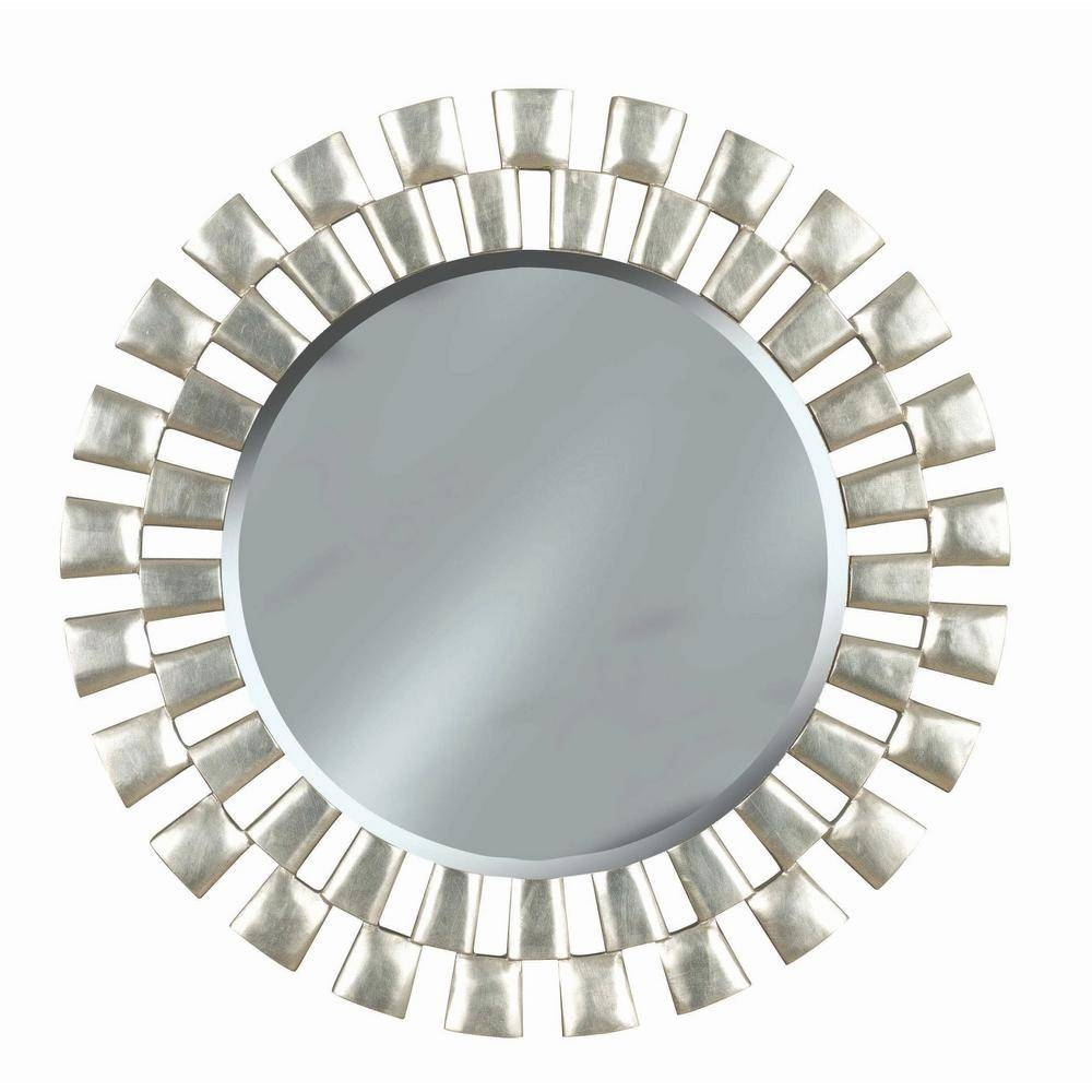 Manor Brook Landon 36 In. Round Polyurethane Framed Mirror-Mb60019 throughout Silver Round Mirrors (Image 6 of 15)