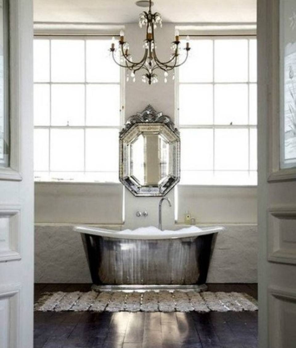 Marvelous White Shabby Chic Bathroom With White Subway Tile With Shabby Chic Bathroom Mirrors (View 6 of 15)