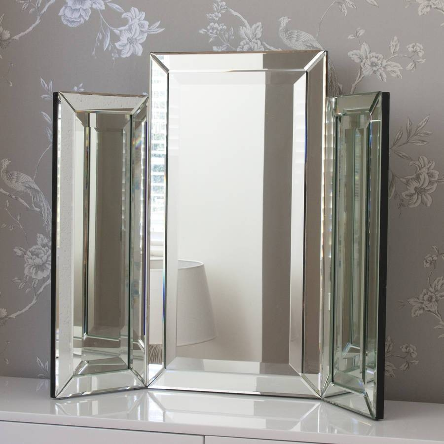 Medium Bevelled Dressing Table Triple Mirrordecorative Mirrors in Decorative Table Mirrors (Image 4 of 15)