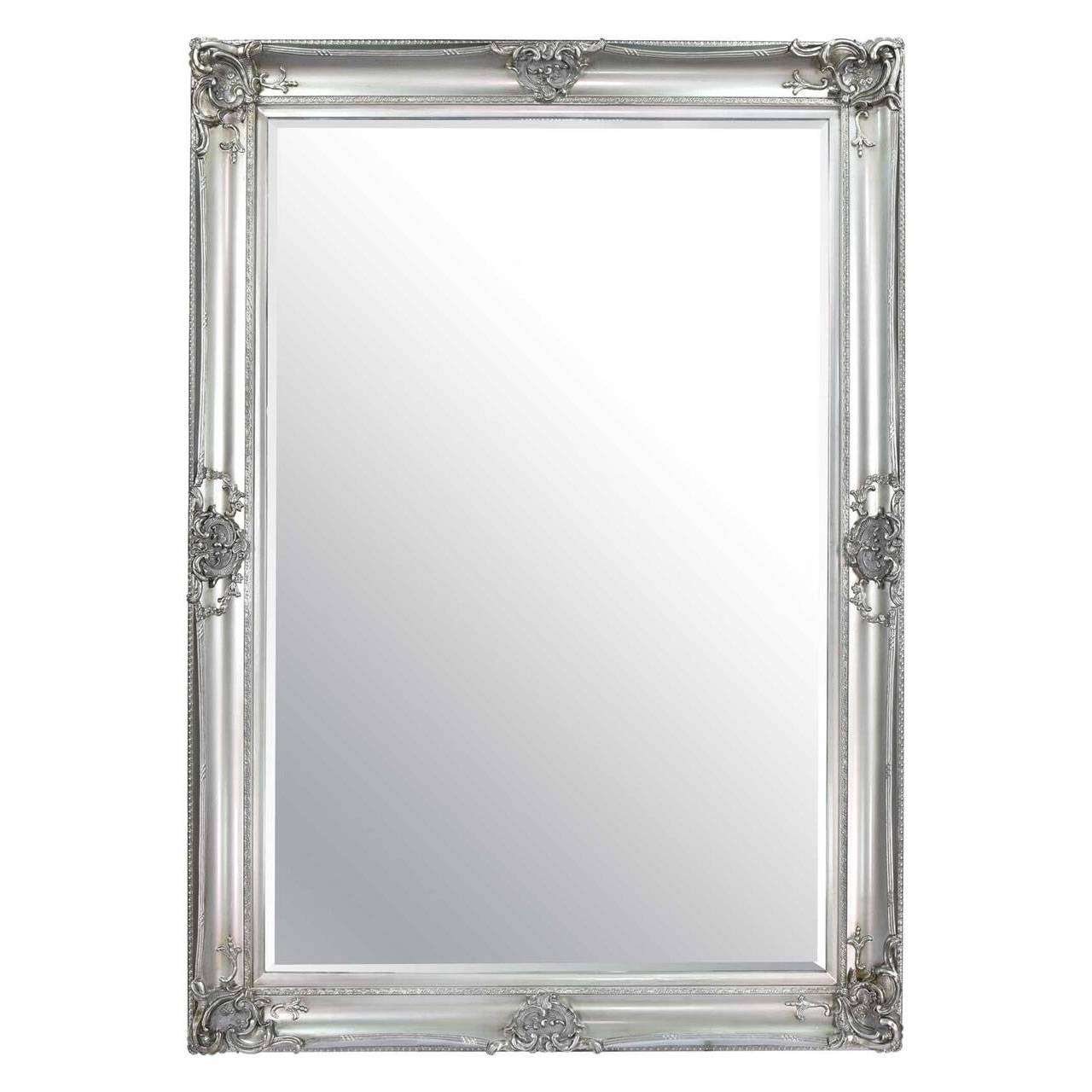 Mirror : 4Ft11 X 3Ft4 Large Silver Carved Ornate Wall Mounted inside Large Black Ornate Mirrors (Image 6 of 15)