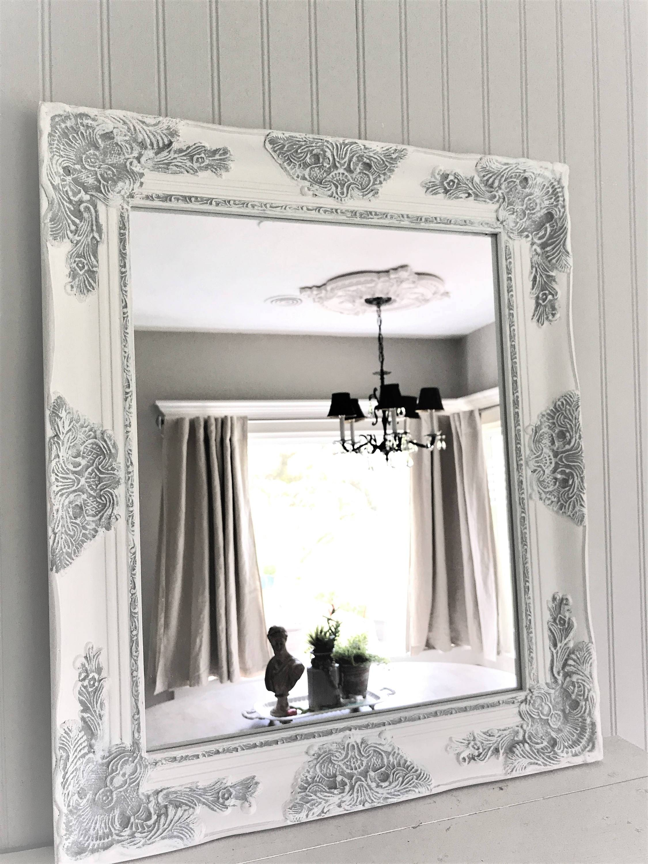 Mirror : 4Ft11 X 3Ft4 Large Silver Carved Ornate Wall Mounted inside Large White French Mirrors (Image 3 of 15)