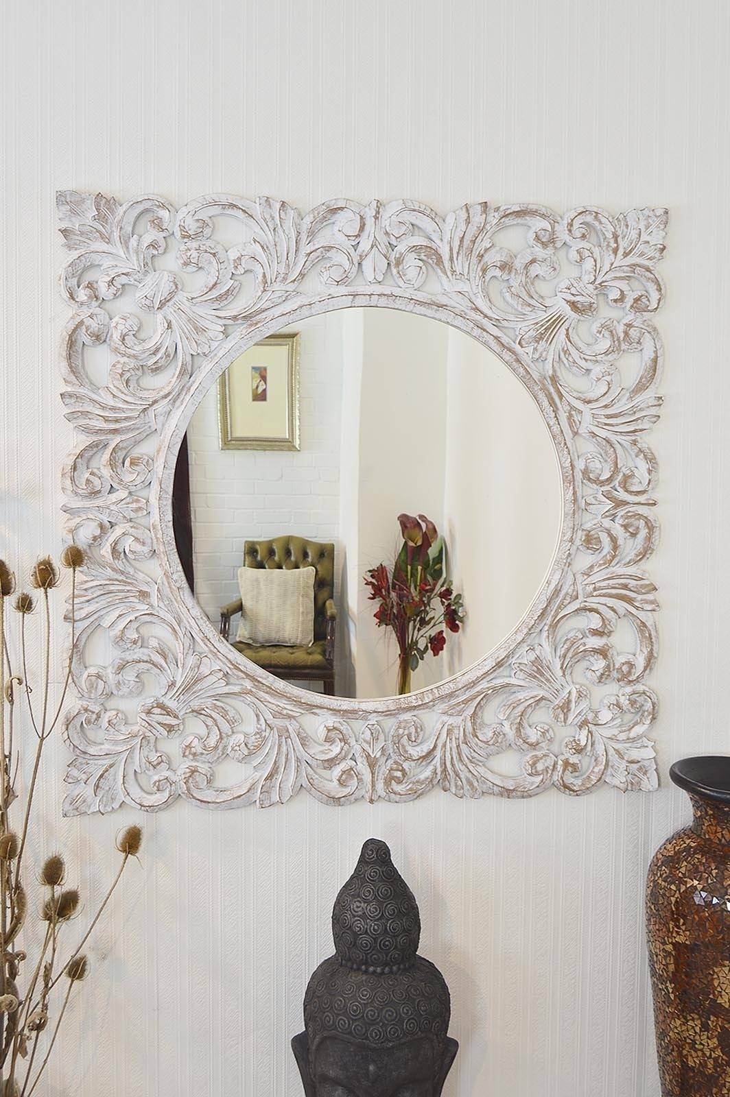 Mirror : 8 Beautiful Large Ornate Mirrors Lotusep For Large White In Large White Antique Mirrors (View 5 of 15)