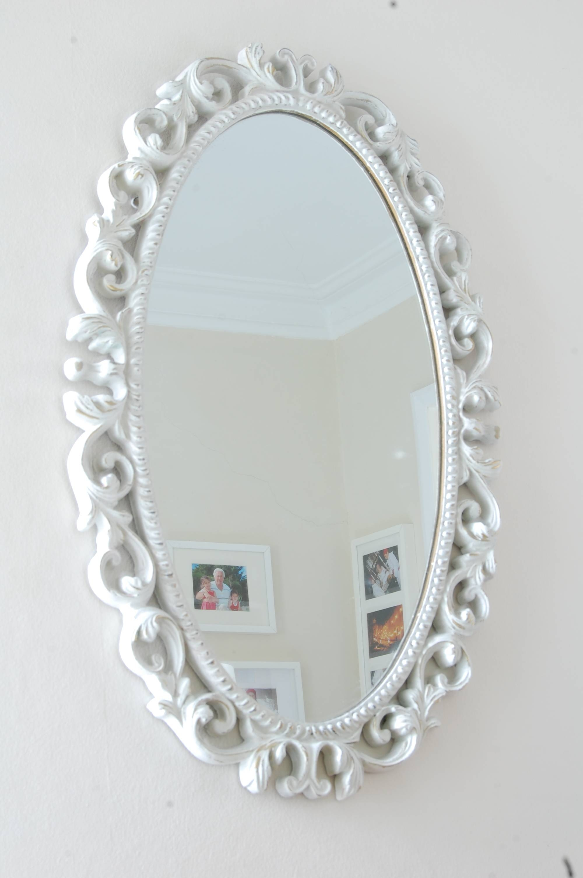 Mirror : Amazing Antique White Oval Mirror Wilko Rococo Mirror in White Oval Wall Mirrors (Image 7 of 15)