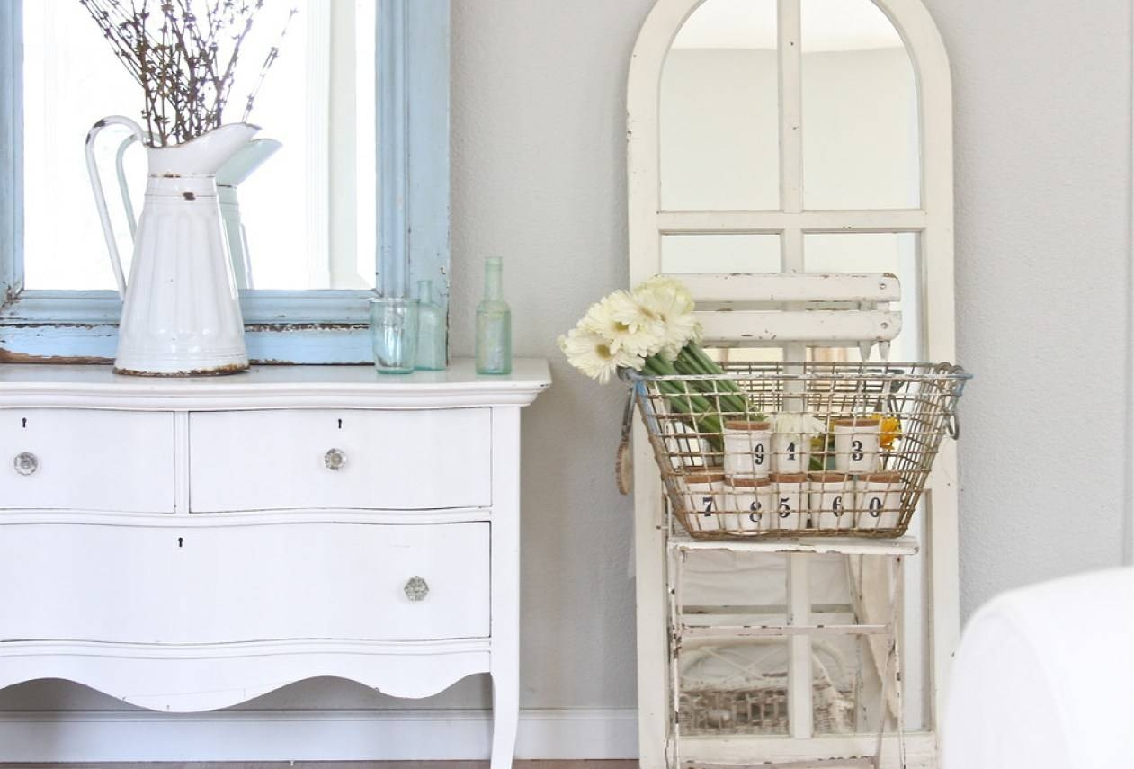 Mirror : Amazing Distressed White Wall Mirror Decorating Ideas For Shabby Chic White Mirrors (View 6 of 15)