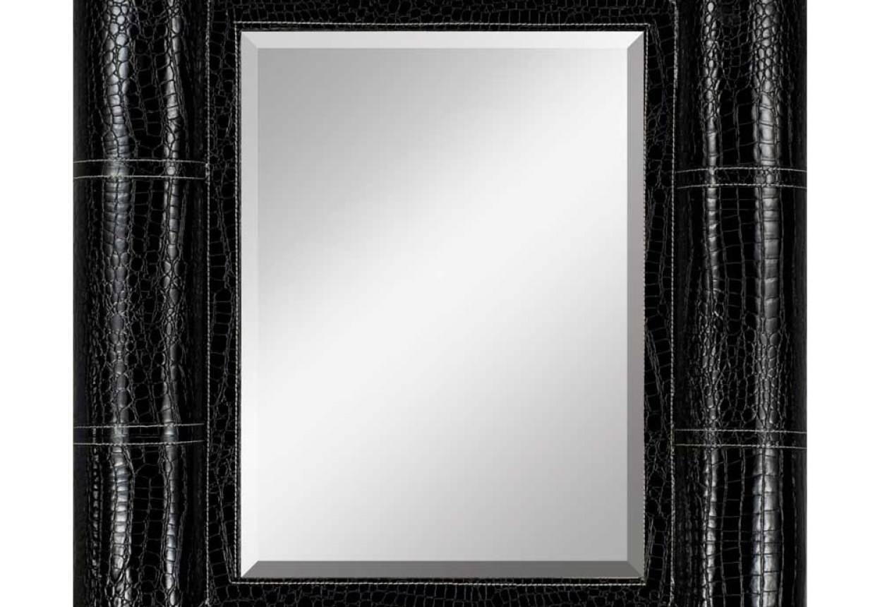 Mirror : Astounding Black Faux Leather Wall Mirror Unforeseen For Wall Leather Mirrors (View 7 of 15)