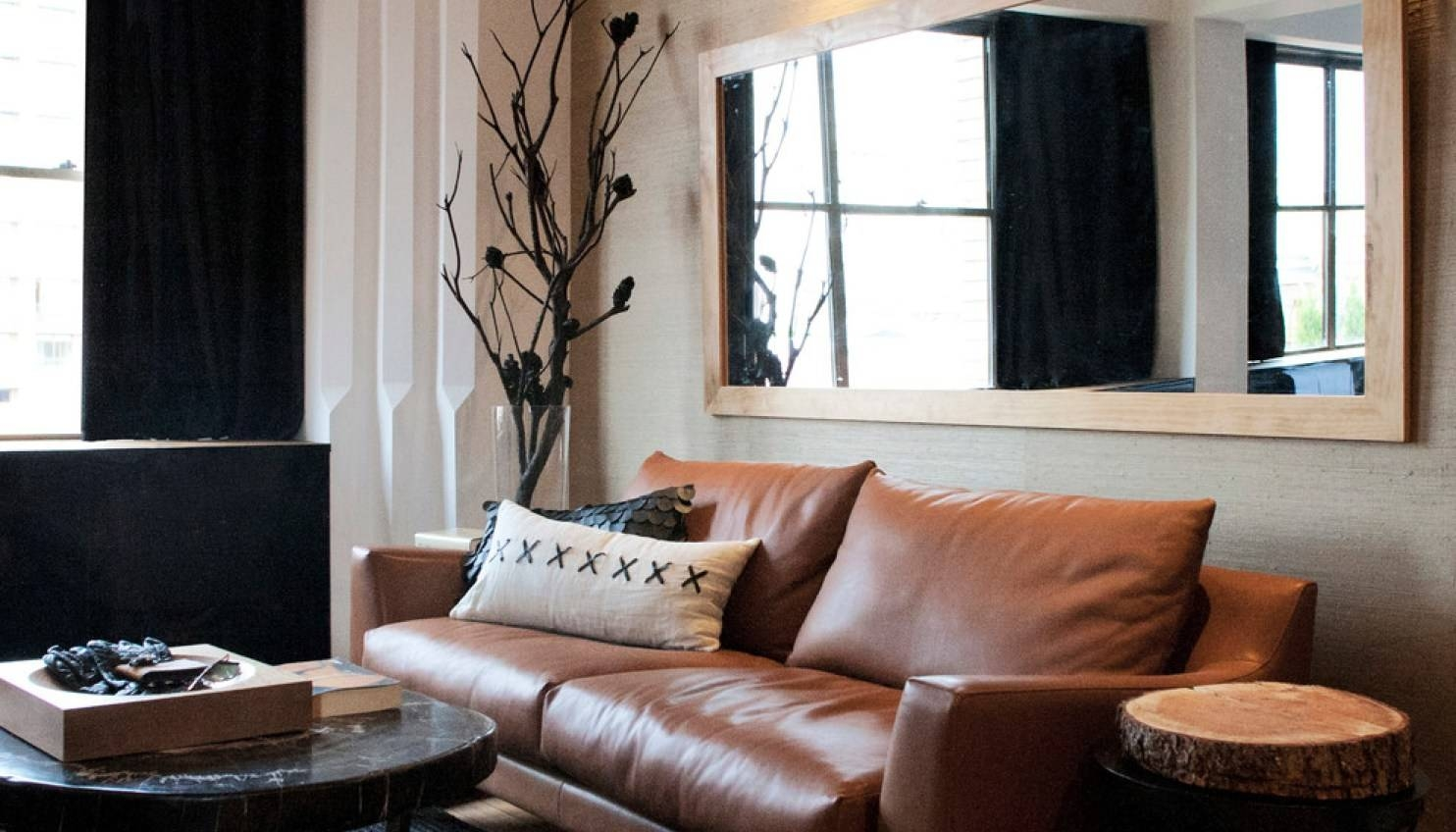 Mirror : Attractive Black Leather Wall Mirror Curious Black Faux throughout Black Leather Framed Mirrors (Image 4 of 15)