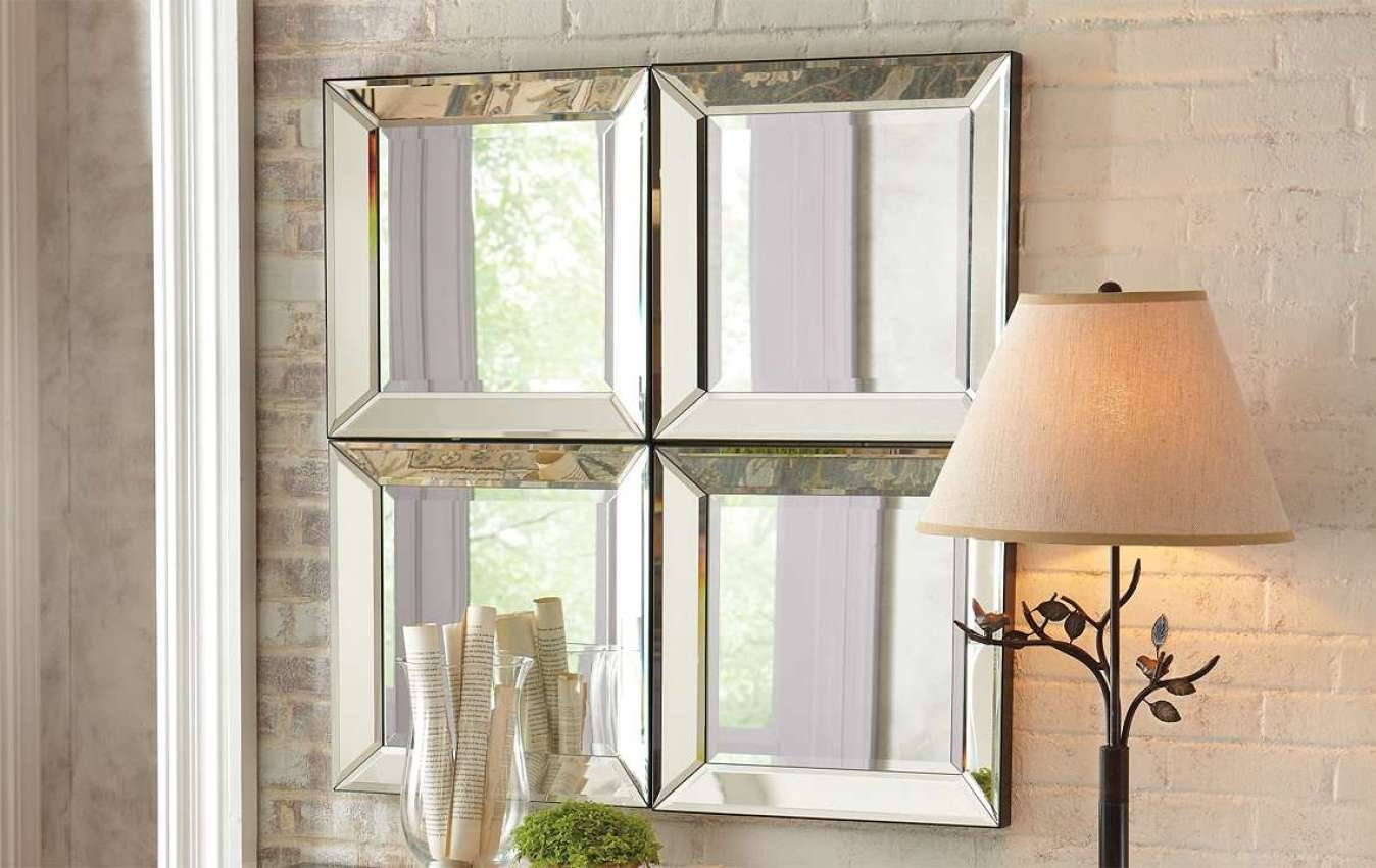 Mirror : Awesome Square Bevelled Mirror Allen Roth 30 In 40 In With Square Bevelled Mirrors (View 10 of 15)