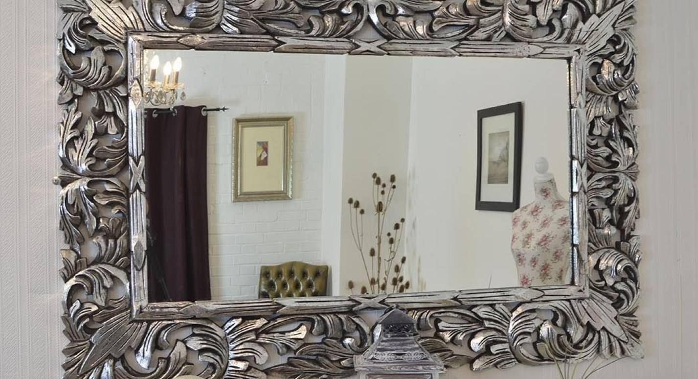 Mirror : Beautiful Large Ornate White Mirror This Antique Mirror Inside Large White Antique Mirrors (View 9 of 15)