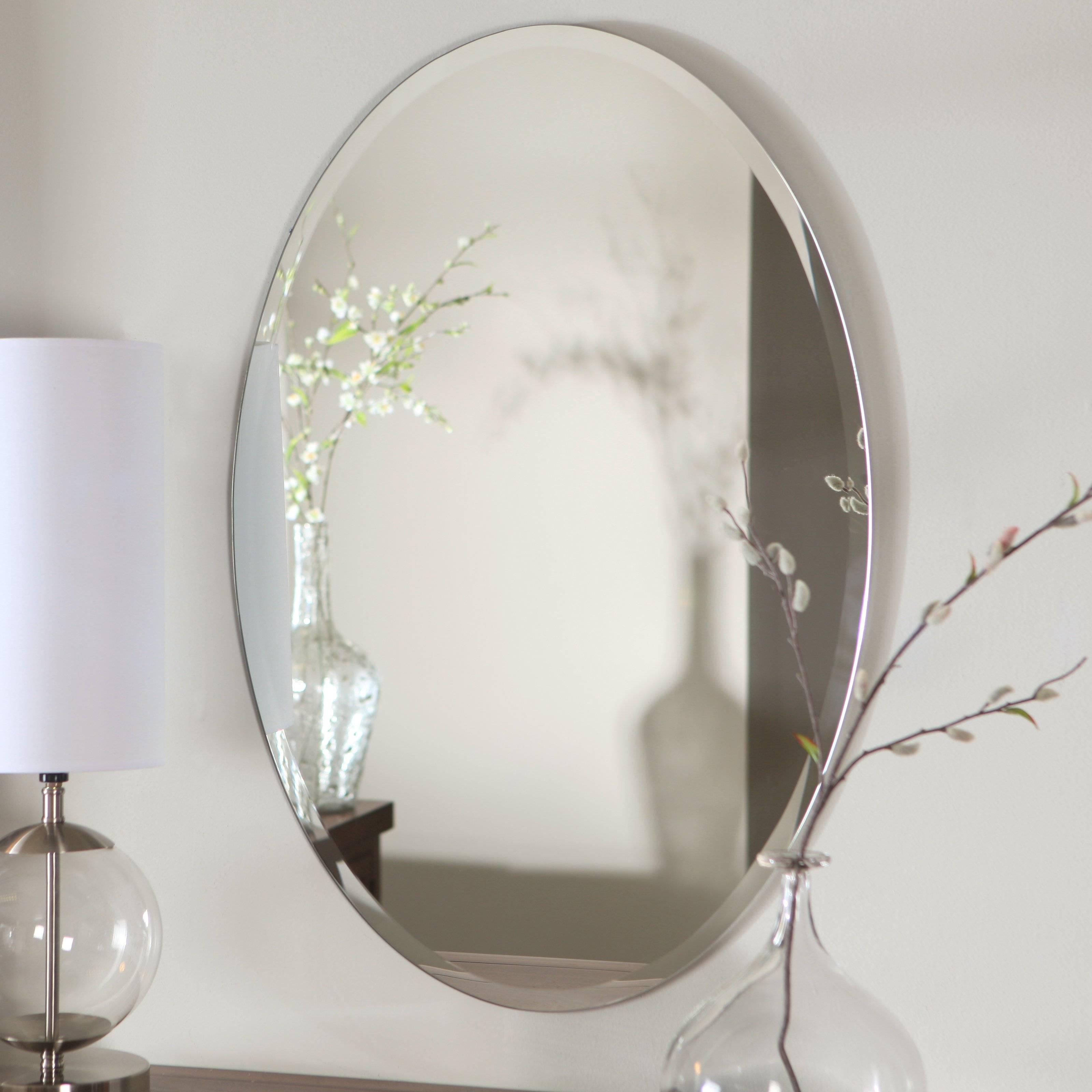 Mirror : Bevelled Glass Mirrors Astounding Beveled Glass Craft pertaining to Oval Bevelled Mirrors (Image 7 of 15)