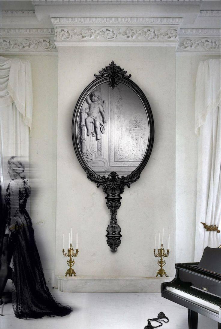 Mirror : Black Leather Framed Mirror Astonishing Black Faux pertaining to Black Leather Framed Mirrors (Image 5 of 15)