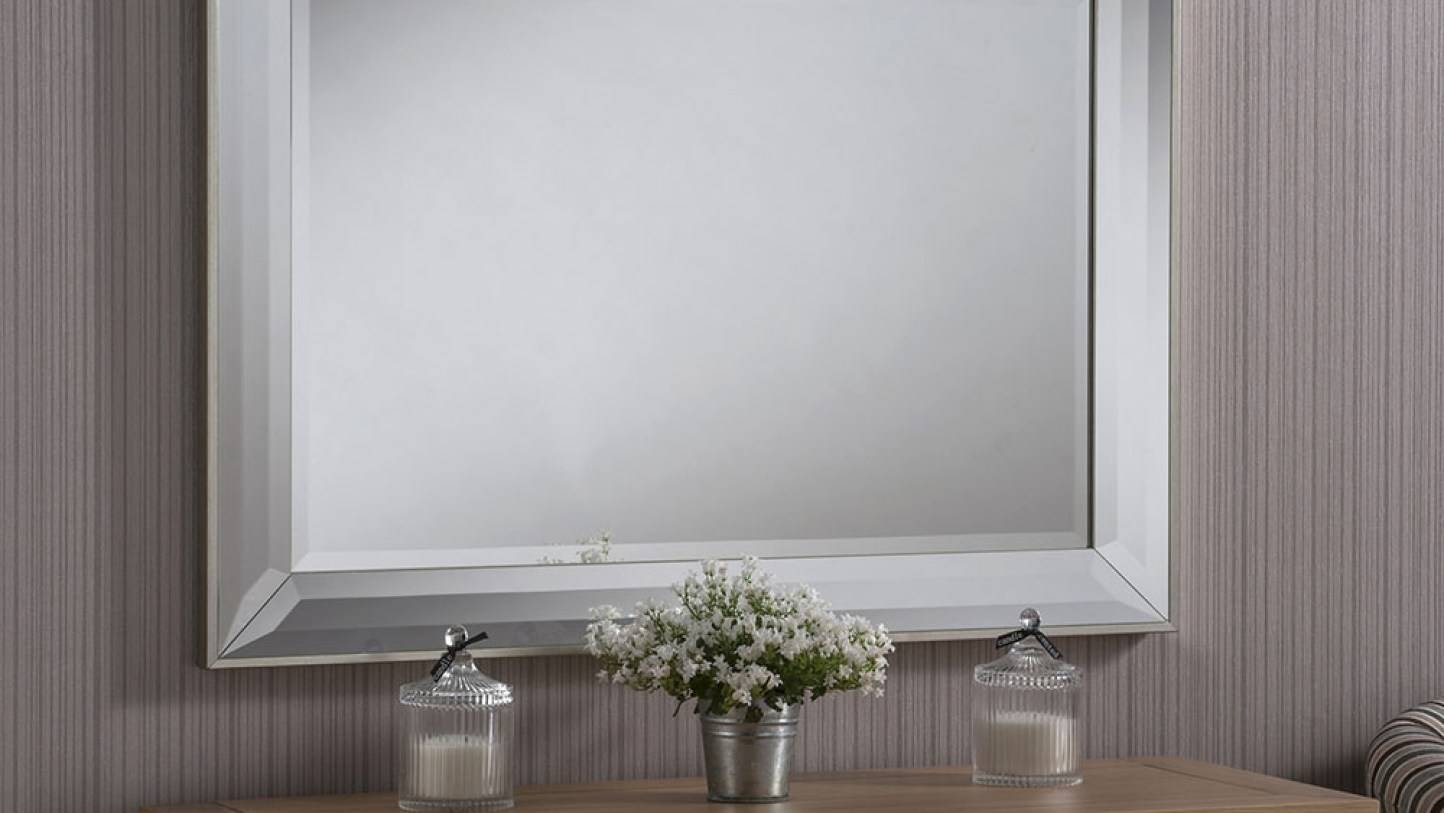 Mirror : Buy Double Frame Beveled Glass Mirror Mirrors The Range within Double Bevelled Mirrors (Image 9 of 15)