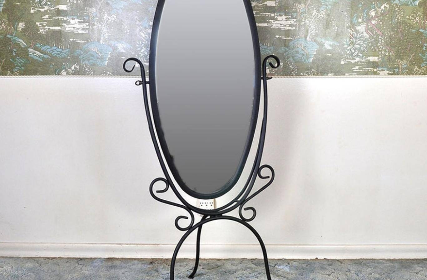 Mirror Charismatic Black Wrought Iron Floor Startling Intended For Mirrors