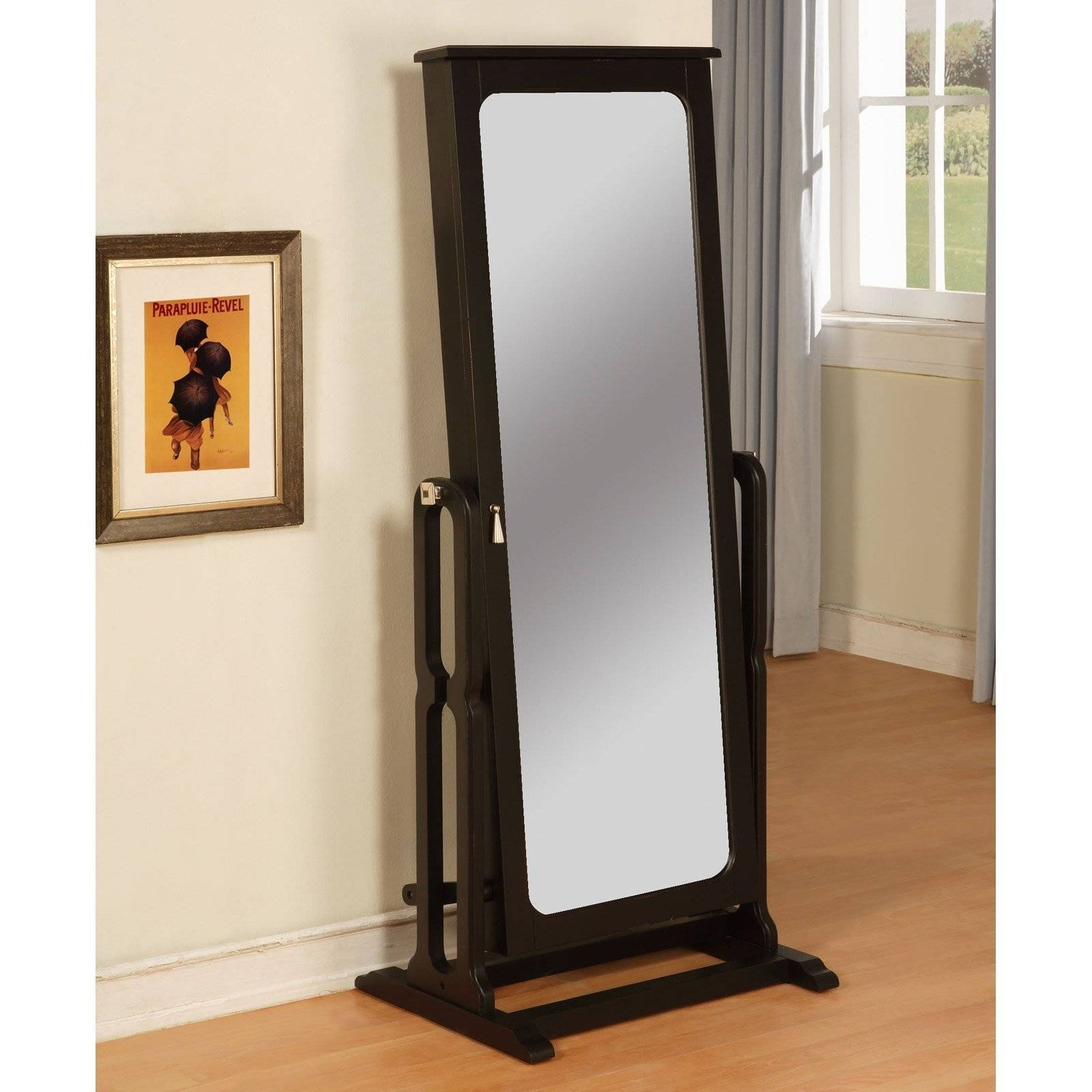 Mirror : Decorating: Wrought Iron Cheval Mirror With Wooden Floor with Cream Cheval Mirrors (Image 10 of 15)