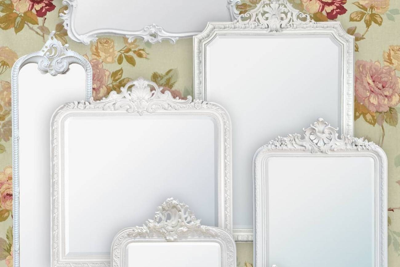 Mirror : French Style Wall Mirror Intrigue French Style Wall pertaining to Large White French Mirrors (Image 7 of 15)