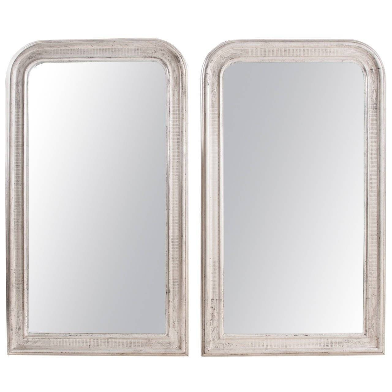 Mirror : Id F Stunning Silver Gilded Mirror Pair Of French 19Th Within Silver Gilded Mirrors (View 8 of 15)