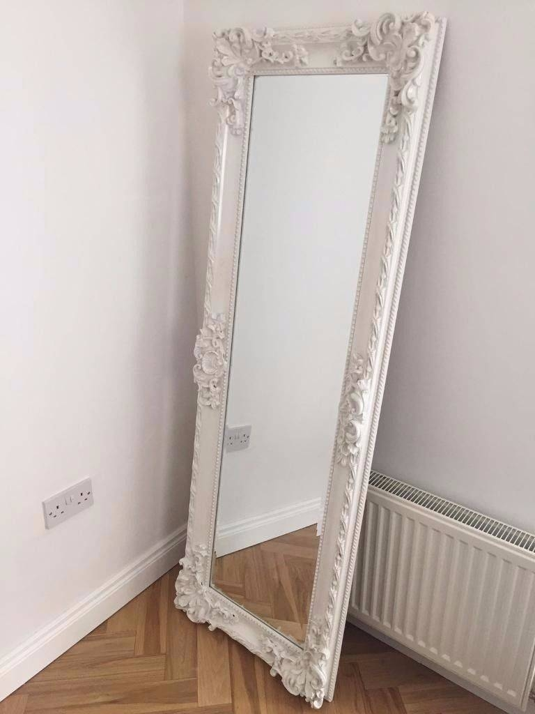 Mirror : Large Antique Ornate White Wood Oval Freestandingcheval with regard to Antique Floor Length Mirrors (Image 11 of 15)