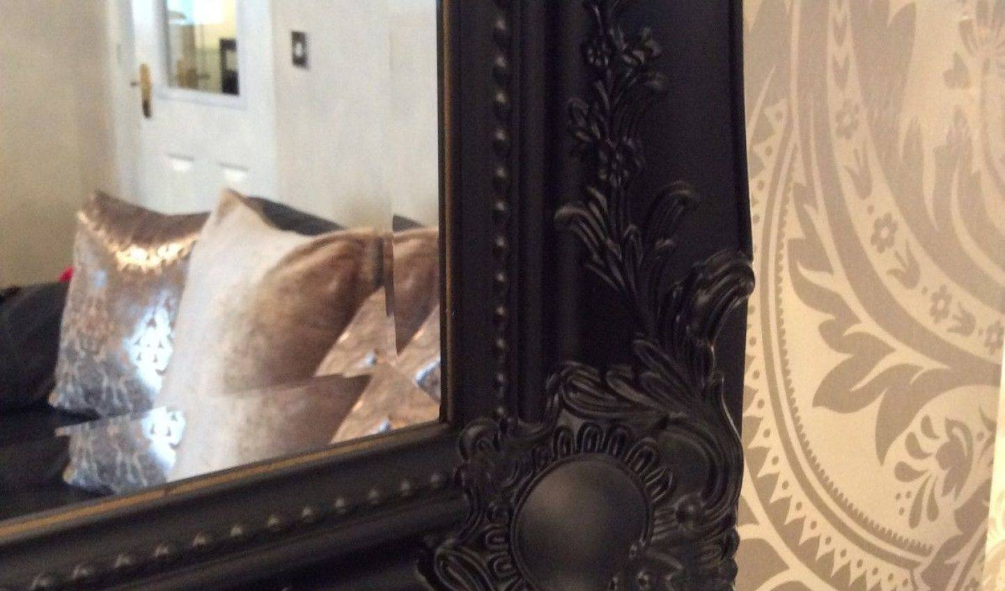 Mirror : Large Black Shabby Chic Framed Ornate Overmantle Wall pertaining to Large Black Ornate Mirrors (Image 11 of 15)