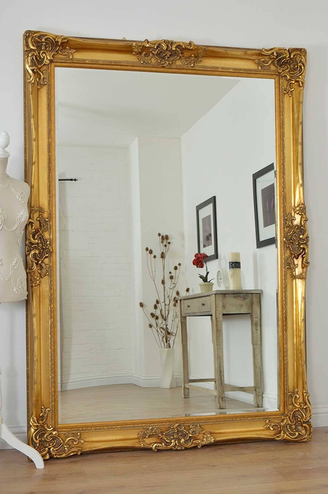Mirror : Large Gold Very Ornate Antique Design Wall Mirror 7ft X In Ornate Gilt Mirrors (View 3 of 15)